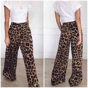 Pants - New! Leopard Print High Waist Wide Leg Pants